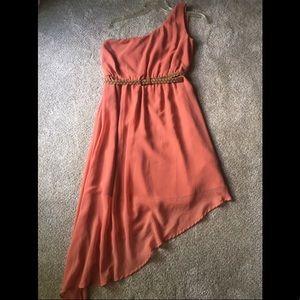 Coral One Shoulder Asymmetrical Chiffon Dress